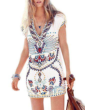 Vestido corto étnico, primavera verano