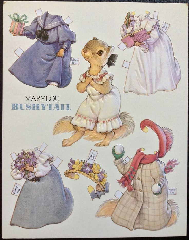 6 Large Paper Doll Postcards of The Bushytail Family Artist Kathy Lawrence 1992 | eBay