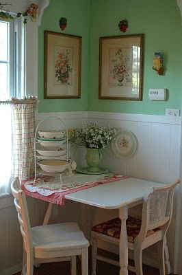 I like the itty bitty dining table for the kitchen. Also dig the colors. Maybe a bit more feng shui. :)