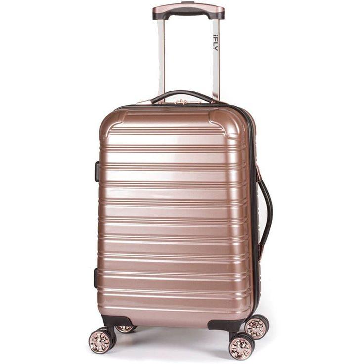 "20"" Hard Sided Luggage Rose Gold 4 Wheel Suitcase Travel Bag Trolley Spinner New #20HardSided"