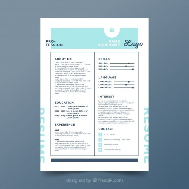 Free vector Cv template with modern design #24012