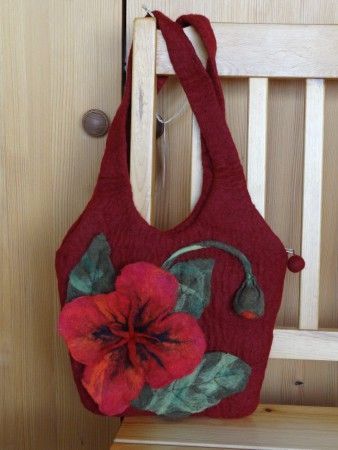 Felted bag with poppy.