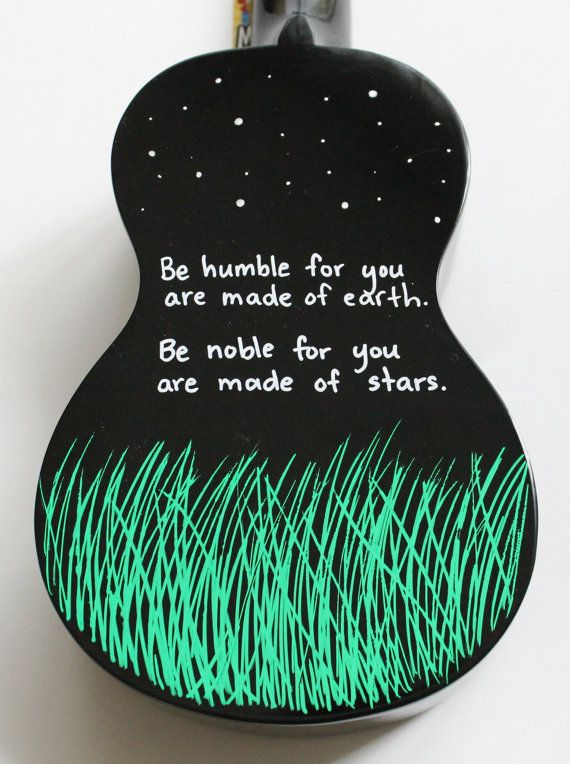 """""""Be humble for you are made of earth. Be noble for you are made of stars."""" Black Mahalo ukulele, hand-painted by UkuLeeShee. $80.00 CDN on Etsy"""