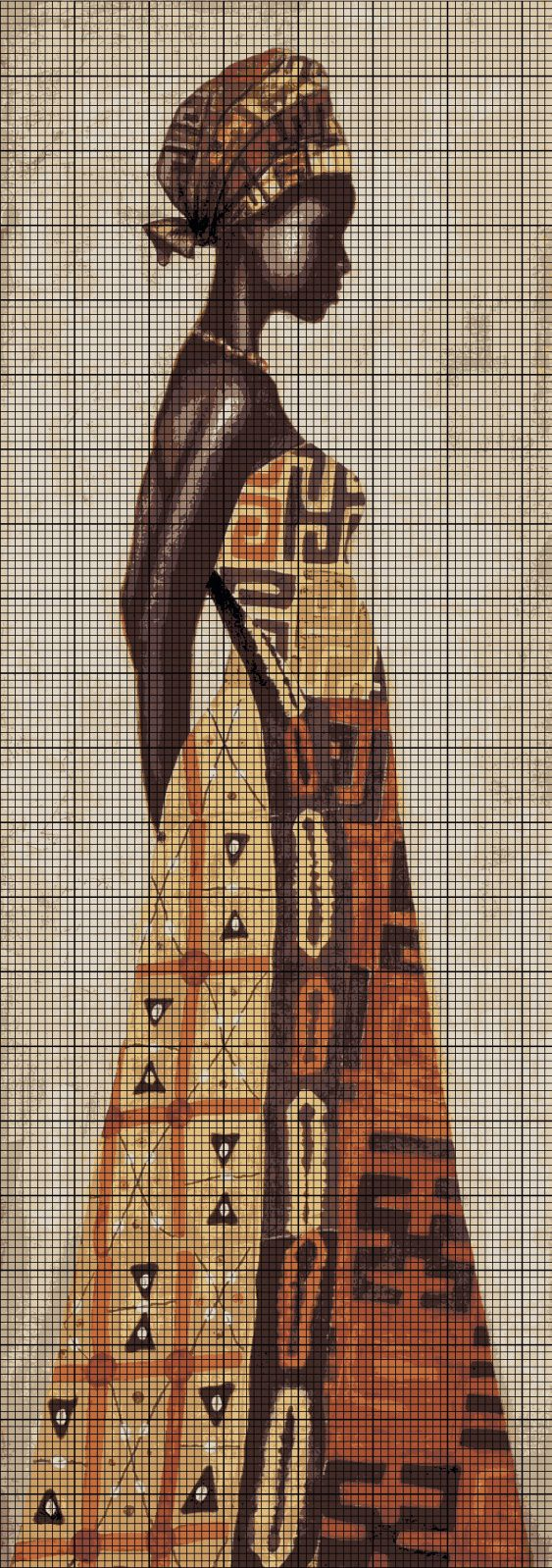 0 point de croix femme africaine - cross stitch african woman