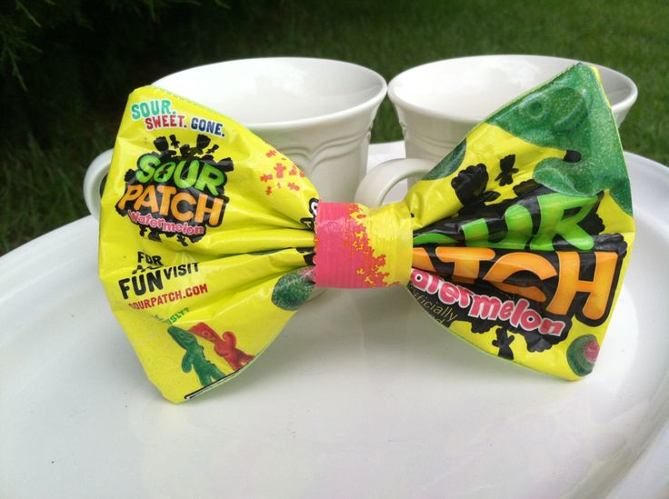 made with sour patch watermelon bag and light green cotton fabric