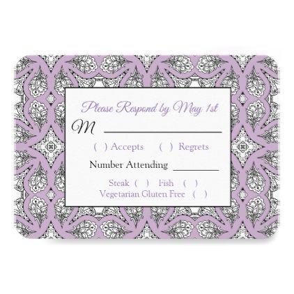 Black and Purple  Mandala Wedding RSVP card - elegant wedding gifts diy accessories ideas
