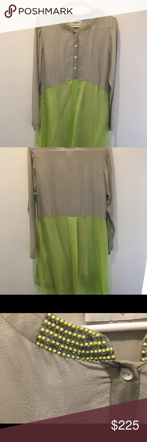 Lime green and Gray shirt dress size medium Sample piece made with chiffon/georgette. Swarovski details on neck. CAM Dresses Long Sleeve
