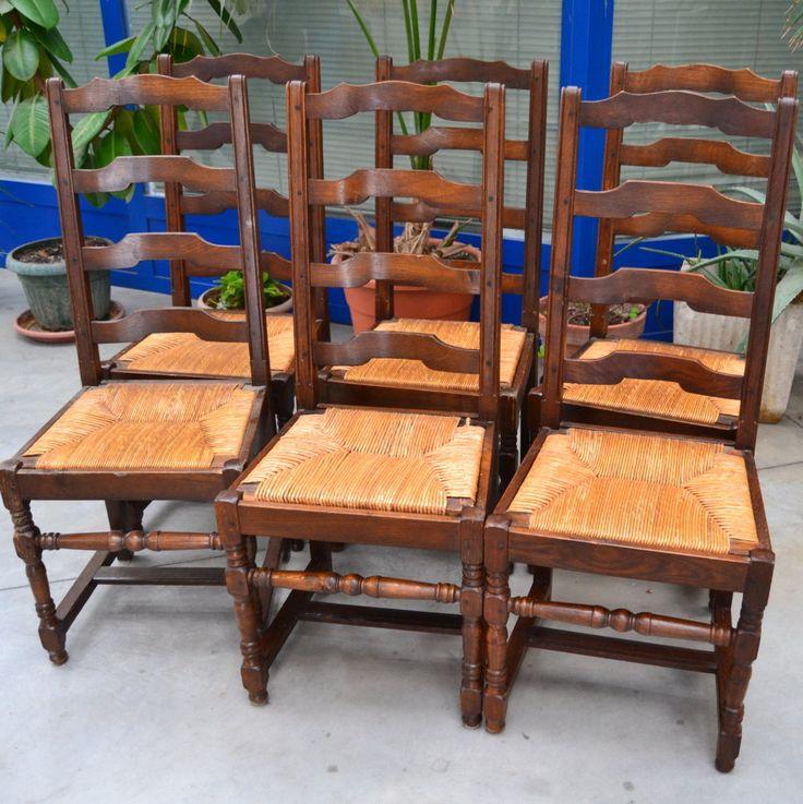 6 sedie rustiche provenzali in faggio con seduta in paglia