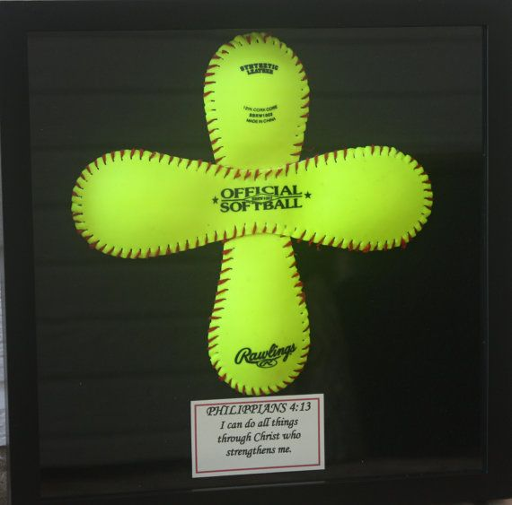 Christmas gift idea for Blake?  I think so!  maybe I'll have the artist use a used Stars game softball for Blake's (one with the Stars logo stamped on it)    ~  Unique Softball Cross in Glass Shadowbox Frame by PositiveMessages, $32.95