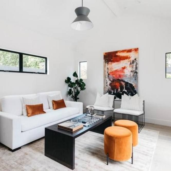 51 Modern Minimalist Living Room Decor Ideas Orange Accents Living Room Living Room Orange Living Room Accents #orange #accent #living #room