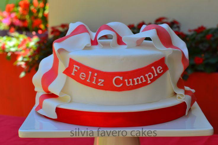 Torta para fanático de River Plate con su bandera | Red and white flag on the cake