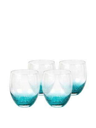 64% OFF Nassau Rocks Hand-Crafted Glass, Clear/Aqua, Set of 4