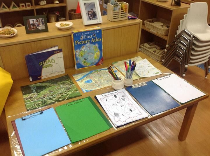 Interesting provocation map making includes books, samples pens and clip boards interesting idea