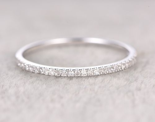Round Diamond Wedding Ring Solid 14K Rose gold Half Eternity Bridal Ring Thin De…