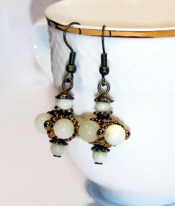 Dangle earrings, light green dangle earrings, beaded bead earrings, light green jewelry, elegant earrings for You - pinned by pin4etsy.com
