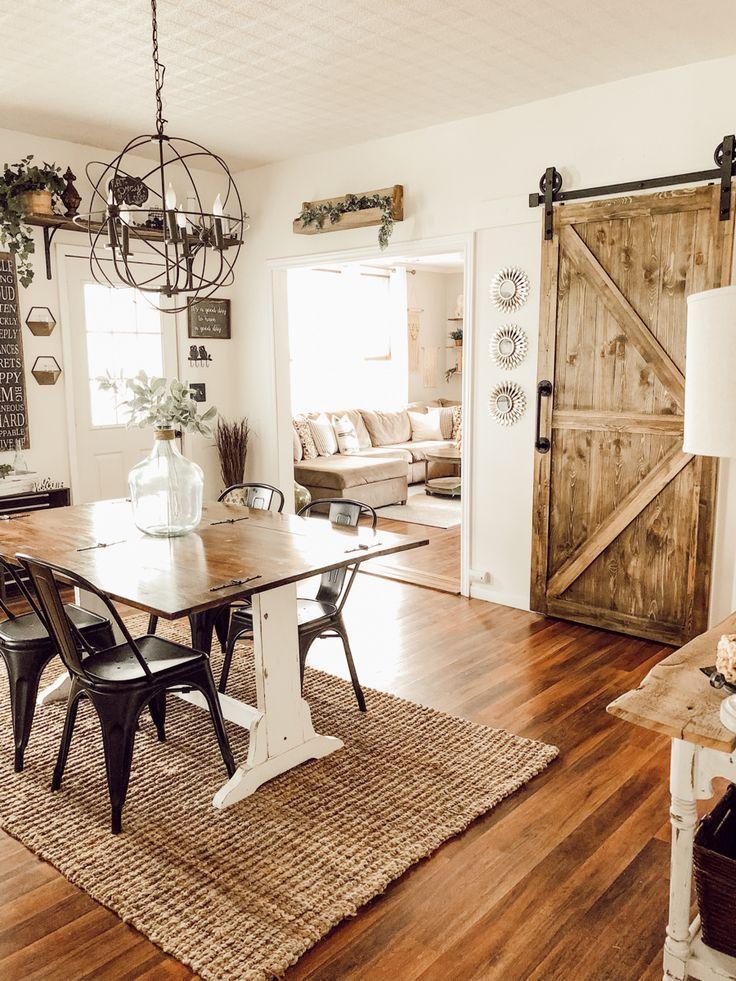 Behr swiss coffee paint barn door dining room decor in