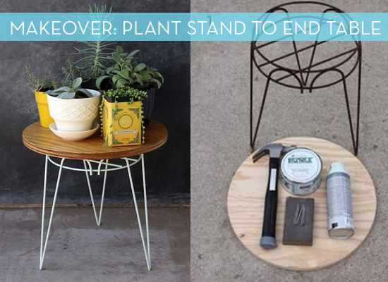 Rusty Plant Stand turned End Table Makeover. Cheap Side ...