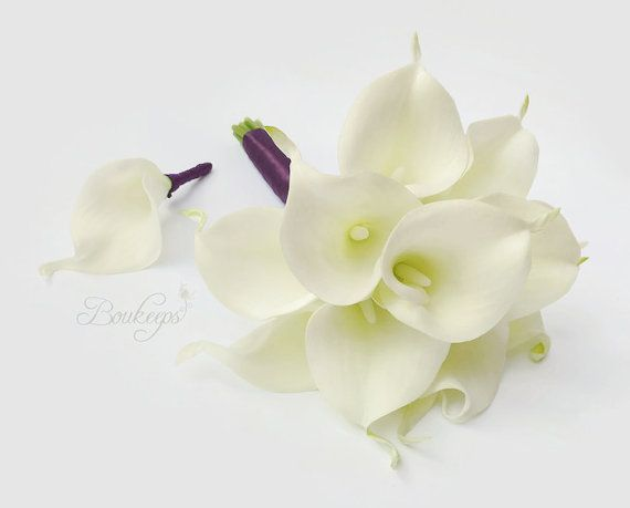 CHOOSE RIBBON COLOR White Calla Lily Bouquet & by Boukeeps