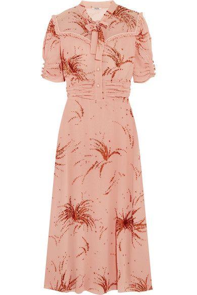 Miu Miu - Ruffled Metallic Embroidered Georgette Midi Dress - Blush - IT36