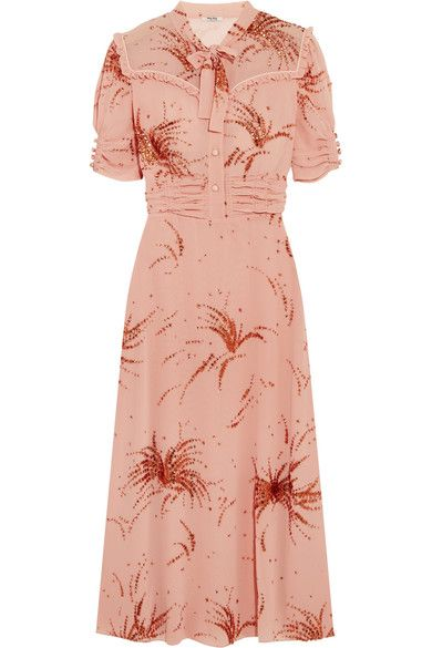 Miu Miu - Ruffled Metallic Embroidered Georgette Midi Dress - Blush - IT36