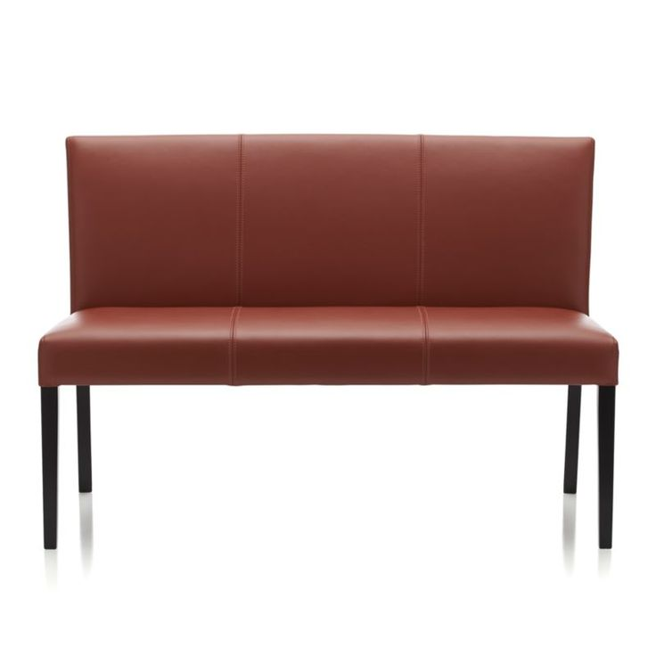 Lowe Persimmon Leather Bench  | Crate and Barrel
