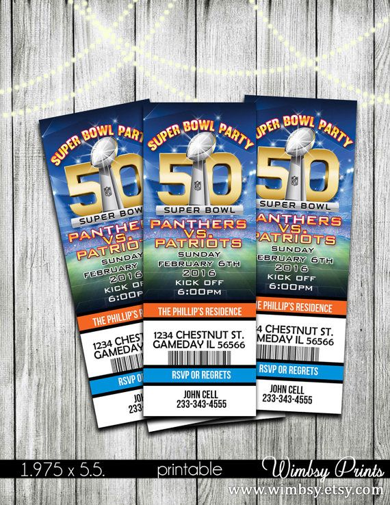 Super Bowl 50 Printable Ticket Invitations