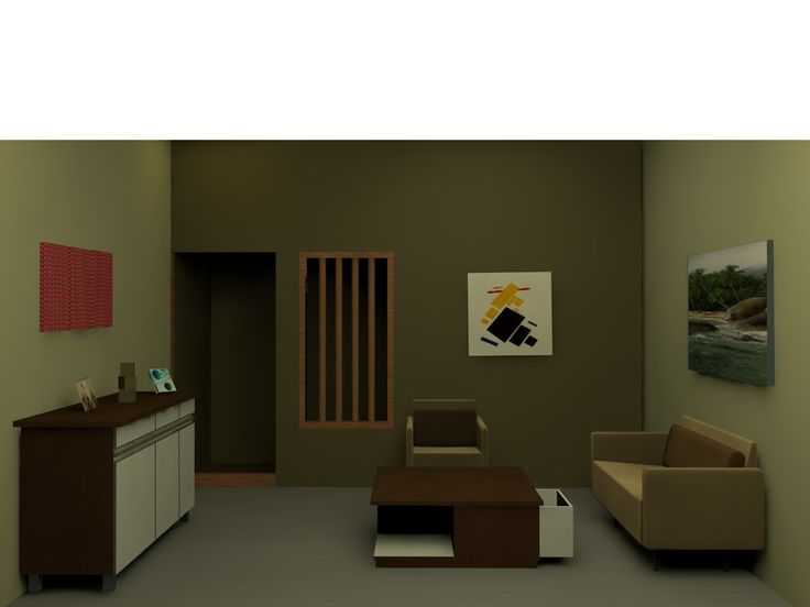 Ruang tamu dalam model minimalis dengan perpaduan warna coklat dan putih dan tambahan wall treatment untuk menghadirkan suasana ruangan yang tidak membosankan.