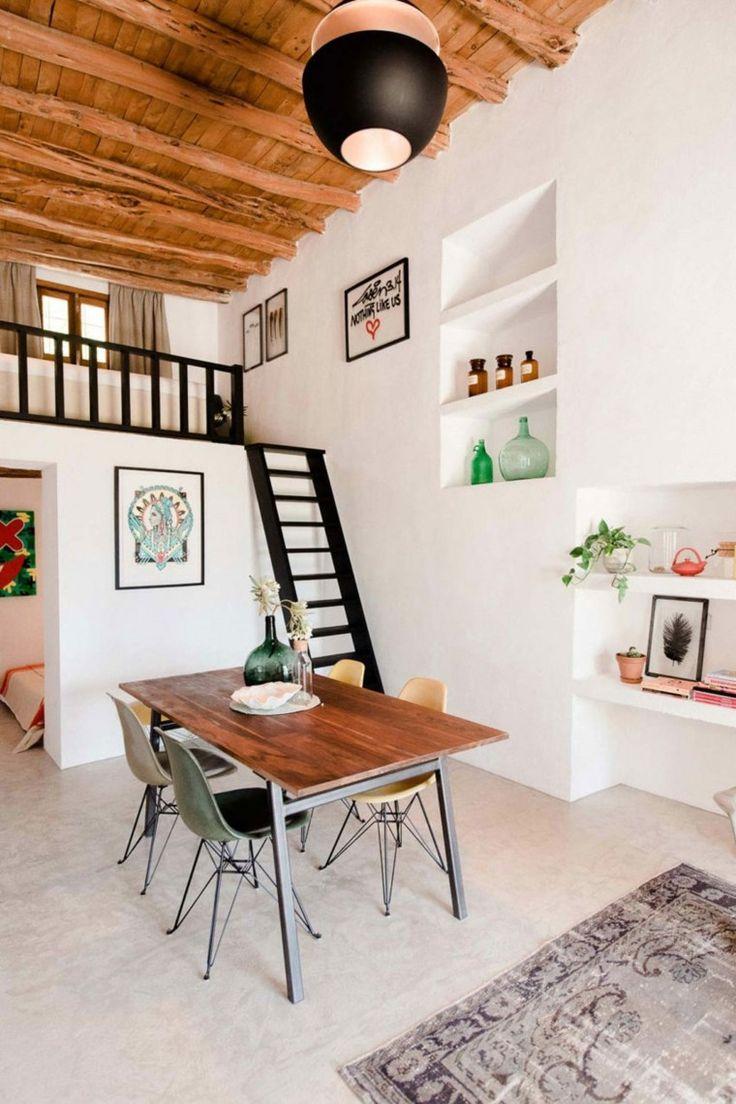 El diseño de las nuevas cabañas rurales #Ibiza #Hometour #cabañas #rural #cabañasrurales #diseño #salon #altillo