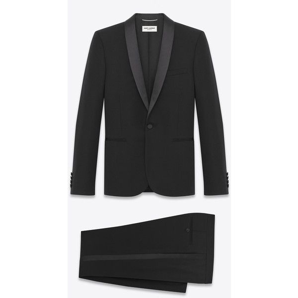 Saint Laurent Iconic Le Smoking Suit ($4,155) ❤ liked on Polyvore featuring men's fashion, men's clothing, men's suits, male clothes, men, mens suits, mens peak lapel suits, mens dinner suits, yves saint laurent mens suits and mens clothing