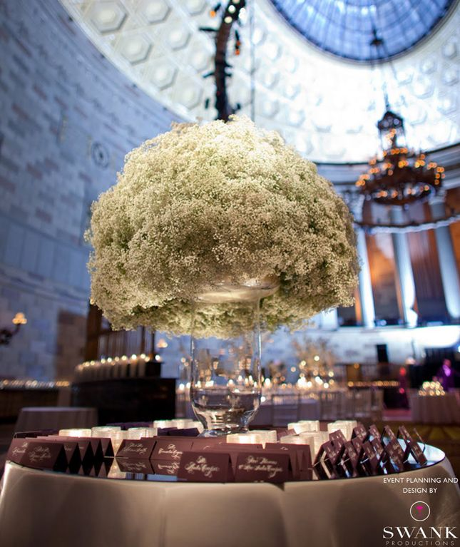 Baby's Breath is perfect for a winder wonderland wedding. Looks like fluffy white snow and one of the cheapest flowers!