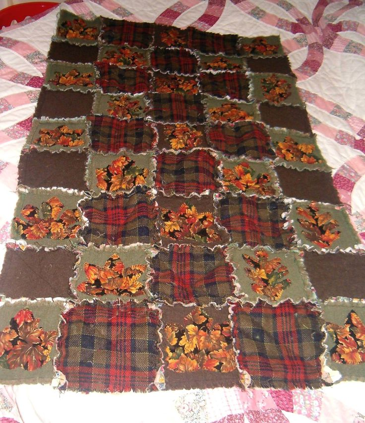 Autumn Rag Quilt Lovely Applique Leaves Recycled From Two