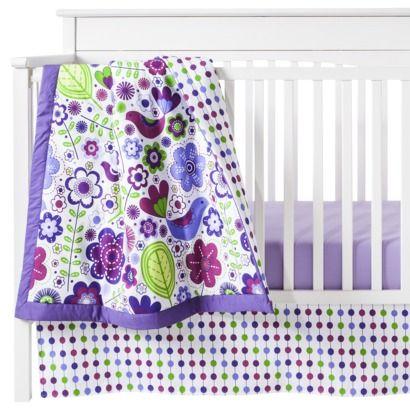 Purple Botanicals 10pc Crib Bedding Set (w/out Bumper) by Bacati