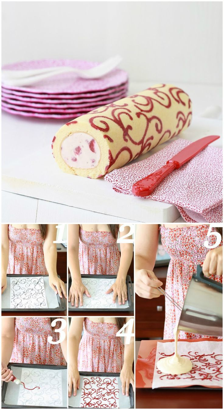 Swiss roll: patterned swiss roll recipe, step by step