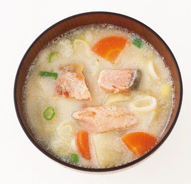あったかサーモンの豆乳みそスープ のレシピ・作り方 │ABCクッキングスタジオのレシピ   料理教室・スクールならABCクッキングスタジオ