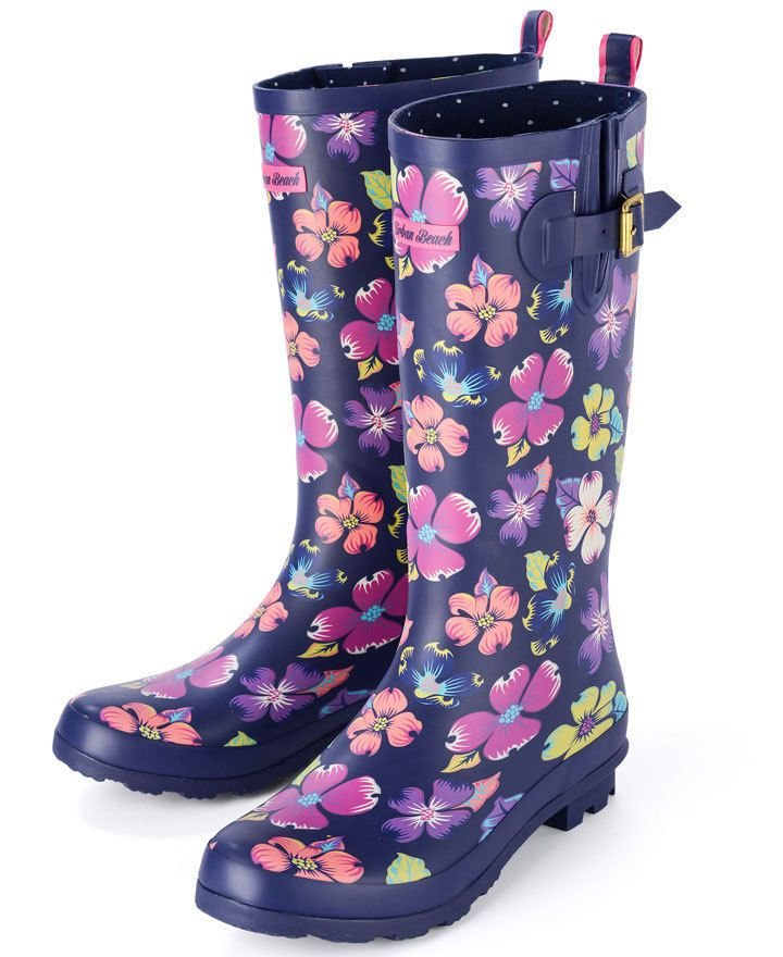 Womens Festival Wellies  - Urban Beach Ladies Navy Blue Floral Wellington Boots