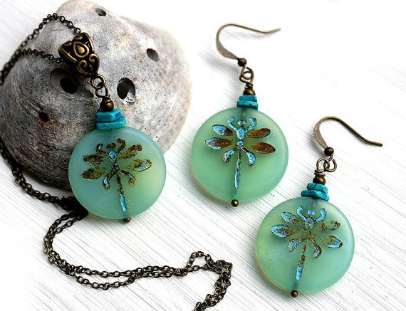 Mint Dragonfly Jewelry Set Seafoam Green by MayaHoneyJewelry  Buy it now $34 Coupon Code for 10% discount - PIN10MH