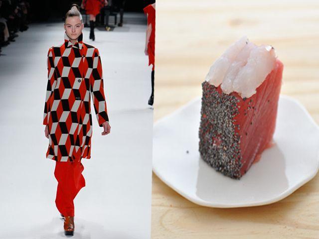 Issey Miyake ai 11-12 sashimi di tonno, ricciola e semi di papavero con condimento al sesamo
