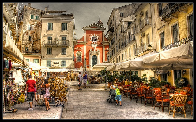 As vivid as life in Corfu . A great painting of Corfu Town, Greece. More about Corfu Island. http://www.sandovillas.com/corfu-info.php