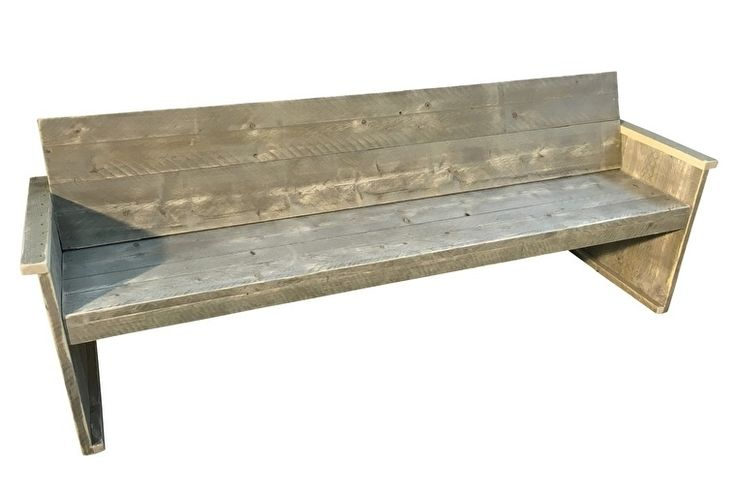 Bank met schuine rugleuning van oud steigerhout