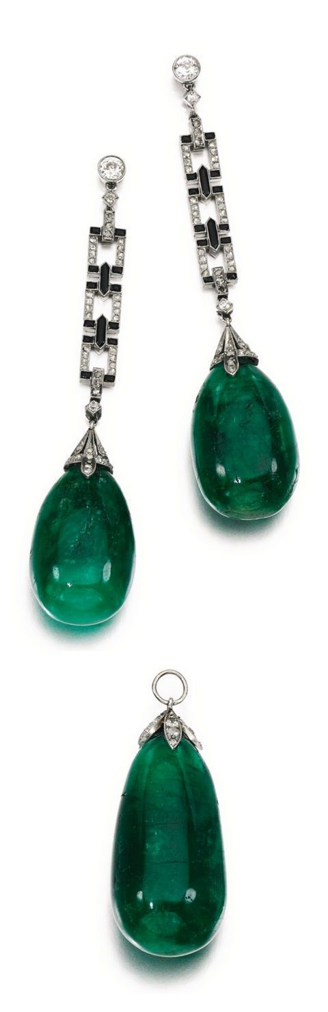 An Art Deco emerald, onyx and diamond demi parure, 1920s. Comprising: a pendant, set with an emerald drop capped with millegrain-set circular-cut diamonds; and a pair of earrings, each suspending an emerald drop from an articulated line of links set with polished onyx and rose diamonds, to a circular-cut diamond surmount, post fittings. #diamondearrings