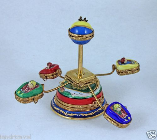 NEW HAND PAINTED FRENCH LIMOGES BOX AMUSEMENT PARK CARNIVAL RIDE 6 LIMOGES BOXES