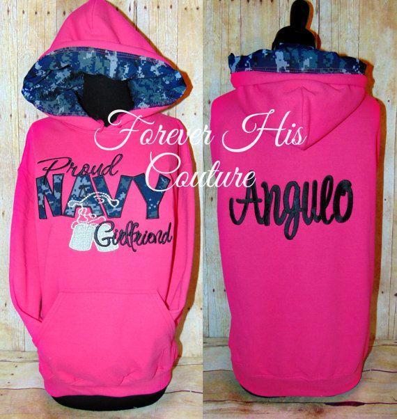 Proud NAVY girlfriend hoodie with name   Proud NAVY wife Proud NAVY mom Proud NAVY sister