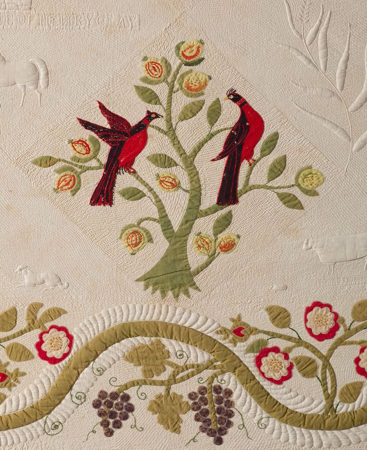Figural and Floral Quilt, about 1860, by Virginia Mason Ivey (American, born 1828).  The Speed Art Museum collection.