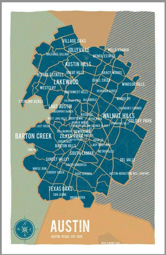 Austin Map Print by Vassi Slavova 31