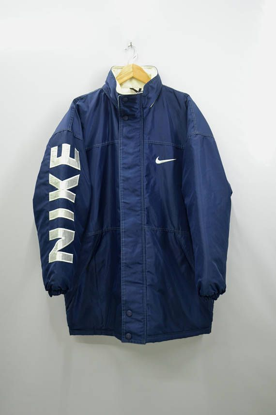 fa2d92bd80b9 NIKE Jacket Vintage 90 s Nike Swoosh Big Logo Spell Out Long Winter ...