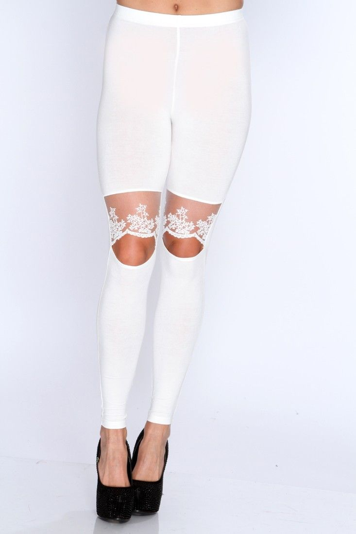 Show off your sense of style in these stylish leggings! Youll be at the height of style when you appear in these. Definitely an attention grabber and a must a have for you wardrobe collection! These must have leggings feature elastic waistband, cut out scallop mesh knee ,and fitted. 94% Rayon 6% Spandex.