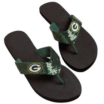 Green Bay Packers Women's Sequin Flip Flops at the Packers Pro Shop http://www.packersproshop.com/sku/1401113108/