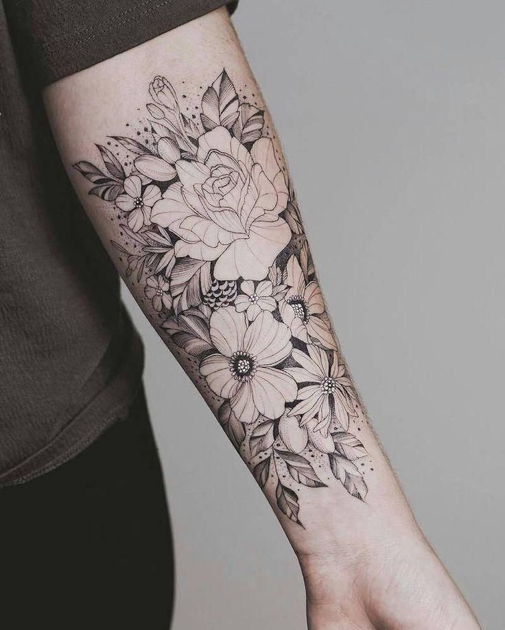 Les 25 meilleures id es de la cat gorie tatouages de l 39 avant bras de fille sur pinterest - Tatouage fleur avant bras ...