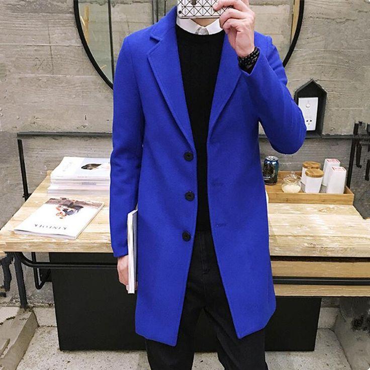 2017 Spring Men's Casual Long Sleeve Woolen Coat / Men's Solid Color Long Trench Coats Blends / plus size 5XL
