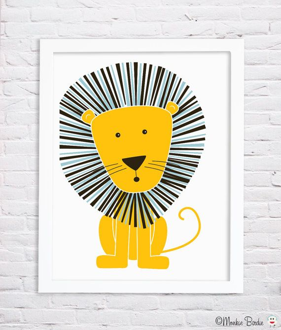 Löwe Kindergarten original Kunstdruck ist perfekt für einen kleinen Jungen oder ein kleines Mädchen Zimmer. Es ist die neutrale Farbe Thema